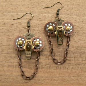 Steampunk Earrings - Zipper Earring..