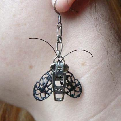 Goth Moth Zipper Earrings - Steampu..
