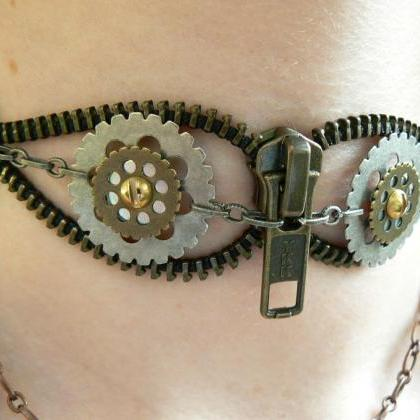 Steampunk Choker Necklace - Zipper ..