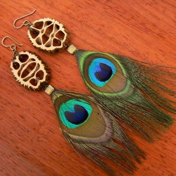 Boho Walnut - Feather Earrings