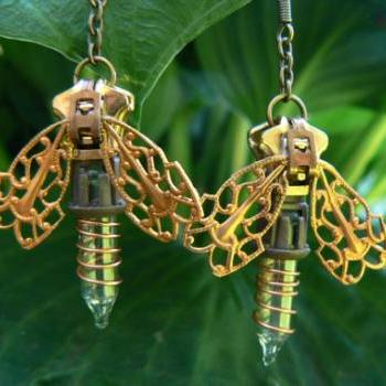 Steampunk Earrings - Zipper Earrings - Firefly Earrings