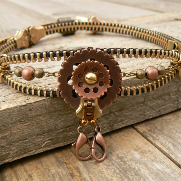 Steampunk Choker Necklace - Zipper Choker Necklace - Hermit Crab Choker Necklace