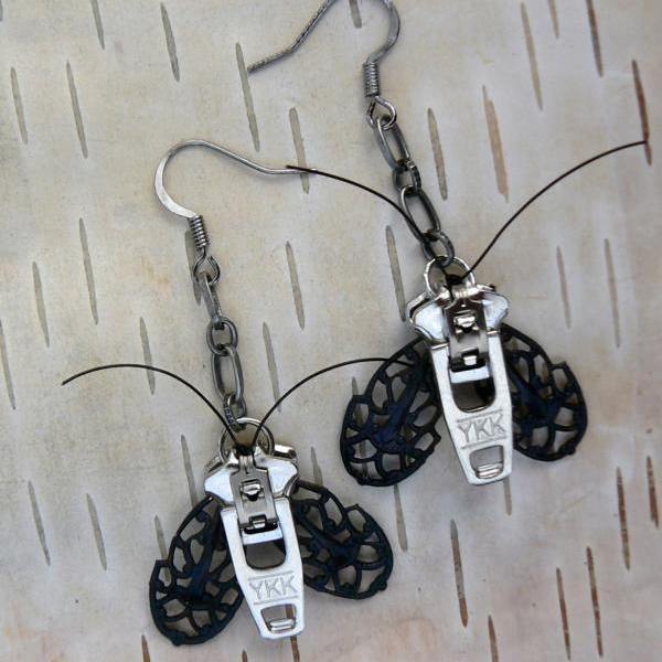 Goth Moth Zipper Earrings - Steampunk Moth Zipper Earrings - Dangle Earrings